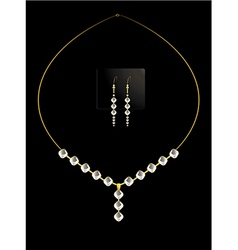Elegant diamond necklace set vector image