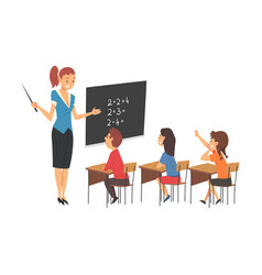 female teacher teaching students in classroom at vector image