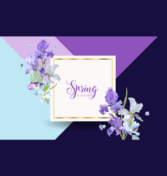 Floral spring card with purple iris flowers vector
