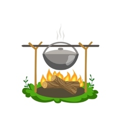 Food Preparing On Bonfire vector