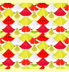 fruit seamless texture pattern with pieces of vector image