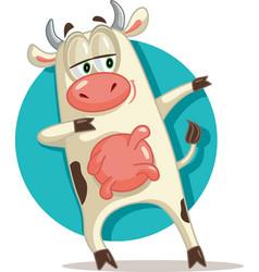 Funny cow dabbing cartoon vector