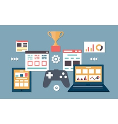 Gamification in business Management and analytics vector