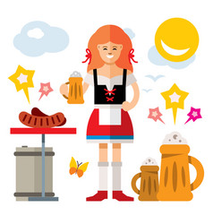 German woman with beer flat style colorful vector