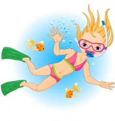 Girl swimming under water vector