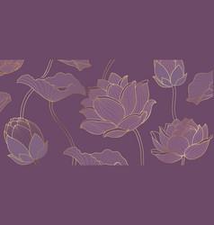 golden lotus purple background vector image