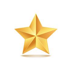 golden star 3d gold medal vector image