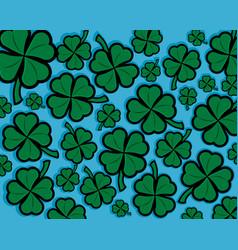 Green shamrock four leaf clover background vector