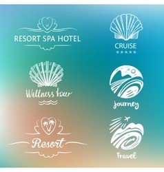 Hand drawn silhouettes Beach vacation in the vector image