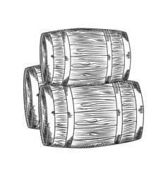 Hand drawn wood barrel barrel isolated on white vector