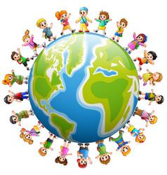 happy group of children standing around the world vector image