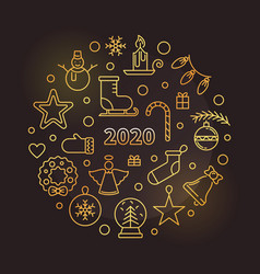 happy new year 2020 round thin line golden vector image