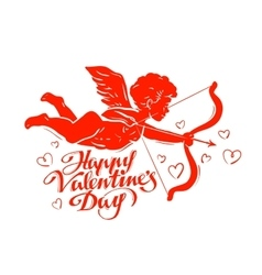 happy Valentines day cupid or angel vector image