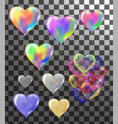heart colorful balloons transparent banner vector image