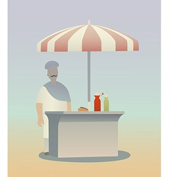 Hot dog seller vector image