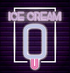 ice cream shop neon light label vector image