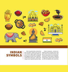 indian culture symbols and india landmarks vector image