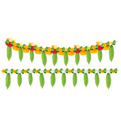 indian flower garland of mango leaves and marigold vector image