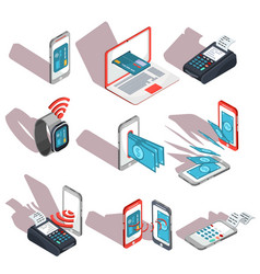 isometric icons mobile phones laptop vector image