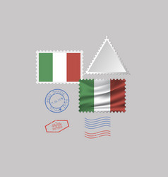 Italy flag postage stamp set isolated on gray vector