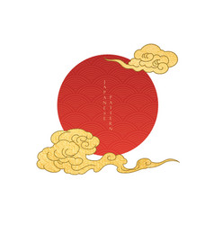 japanese background with red sun elements vector image