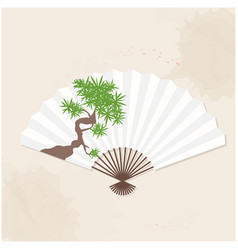 japanese fan bamboo painting white background vect vector image