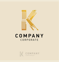 k company logo design with visiting card vector image