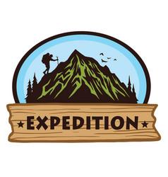 Logo camping mountain hiking adventure vector