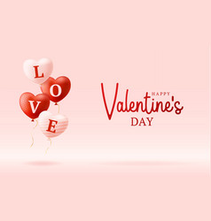 love word on realistic hearts valentines day card vector image
