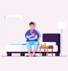 man having cold or flu winter illness sick vector image