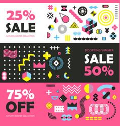 memphis design elements banners vector image