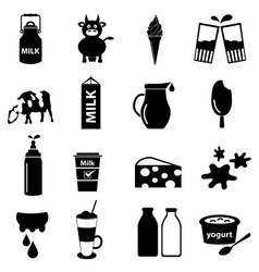 Milk and milk product theme icons set eps10 vector