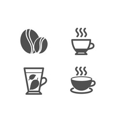 mint leaves espresso and coffee beans icons vector image