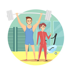 Muscular man and healthy sexy woman wearing sport vector