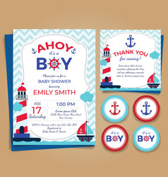 Nautical theme baby shower invitation birthday pa vector