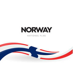 norway flag wavy ribbon with colors norwegian vector image