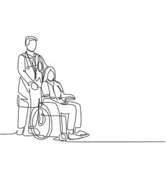 one line drawing young doctor visiting and vector image