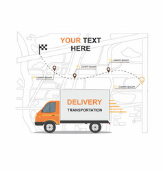 orange cargo delivery transporation vector image