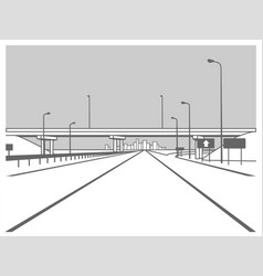 Overpass road junction road goes under the vector