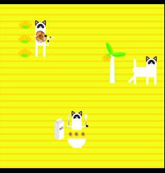 pattern cat banana vector image