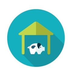 Pigsty flat icon with long shadow vector image