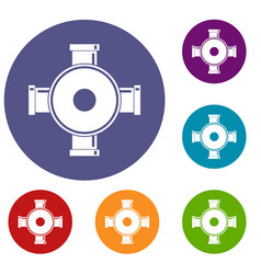 Pipe fitting icons set vector