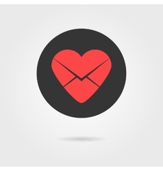 Red heart in black circle like love letter icon vector