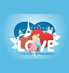 Romantic love in paper art vector