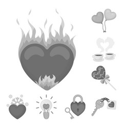 Romantic relationship monochrome icons in set vector