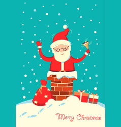 santa claus in chimney in christmas vector image