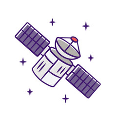 satellite color icon sputnik artificial object vector image