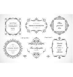 set flourish frames borders labels vector image