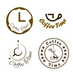 Set of coffee time logo design vector