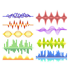 set of various abstract music waves sound vector image